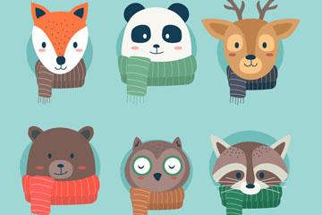 6款创意冬季围巾动物头像矢量图