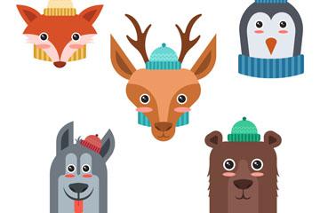 5款卡通冬季围巾动物头像矢量图