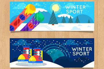 2款彩色冬季运动banner矢量素材
