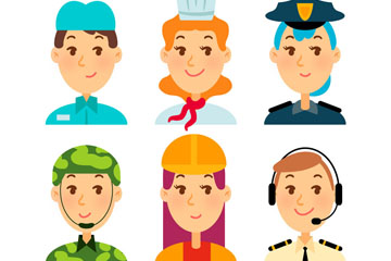 6款彩色职业人物头像矢量素材