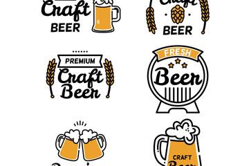 6款手绘精酿啤酒标签矢量素材