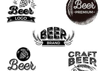 5款黑色啤酒标志设计矢量图