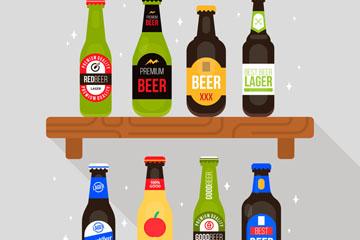 创意隔板上的8瓶啤酒乐虎国际线上娱乐乐虎国际