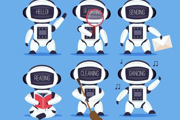 6款卡通白色机器人设计矢量素材