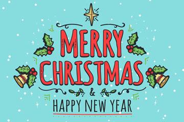 彩色圣诞节快乐艺术字矢量素材