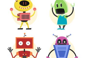 4款彩色机器人设计矢量素材