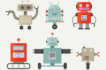 6款可爱机器人设计矢量素材