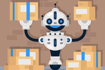 创意搬运快递的机器人矢量素材