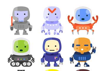 9款创意机器人设计矢量素材
