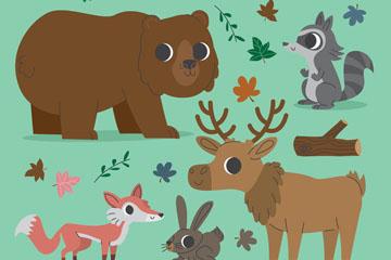 5款手绘冬季森林动物矢量素材