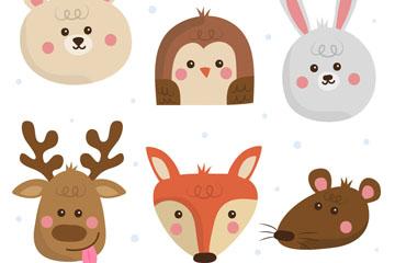 6款可爱动物头像设计矢量素材