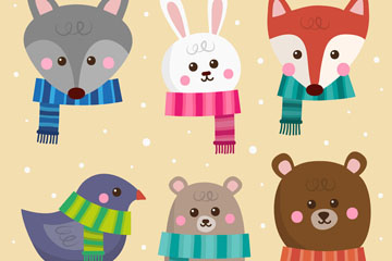 6款冬季围巾动物头像矢量图