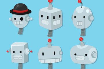 6款创意机器人头像矢量素材