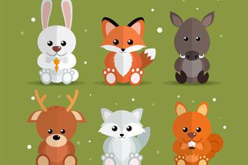 6款创意坐姿森林动物矢量素材
