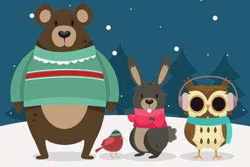 4只可爱雪中的动物矢量素材