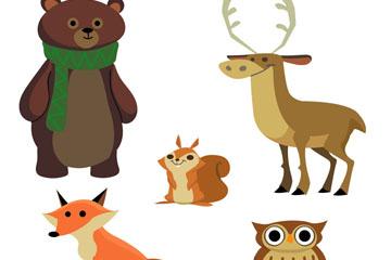 5款创意森林动物矢量素材
