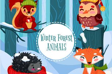 4款卡通冬季森林动物矢量素材