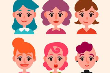 6款卡通女子头像设计矢量素材