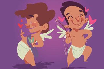 2个卡通情人节天使矢量素材