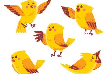 5款黄色鸟设计矢量素材