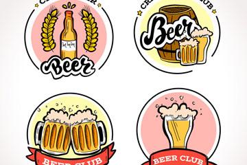4款手绘啤酒标签设计矢量素材
