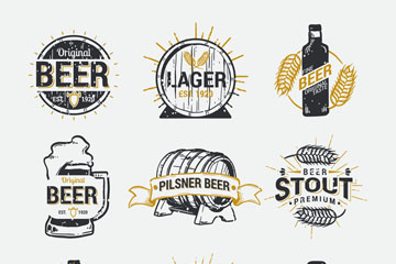 9款做旧效果啤酒标签矢量素材