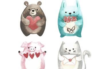 4款手绘情人节动物矢量素材