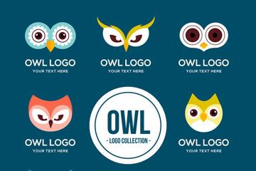 8款创意猫头鹰头像标志矢量图