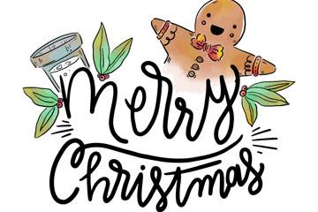 彩绘姜饼人圣诞快乐艺术字矢量图