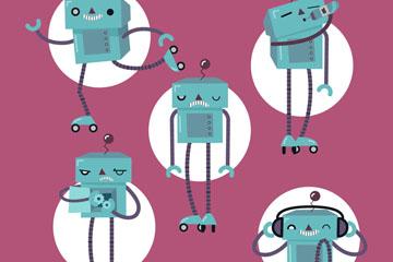 5款创意机器人动作矢量素材