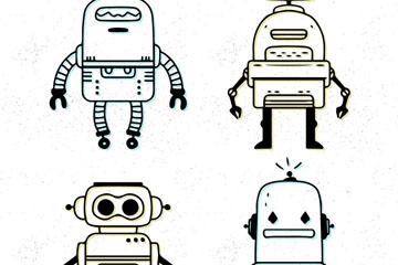 4款手绘机器人设计矢量素材