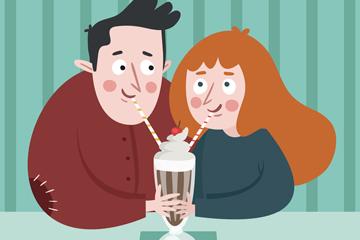 创意喝一杯咖啡的情侣矢量素材