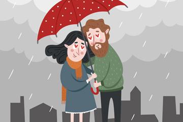 创意雨中撑伞的情侣矢量素材