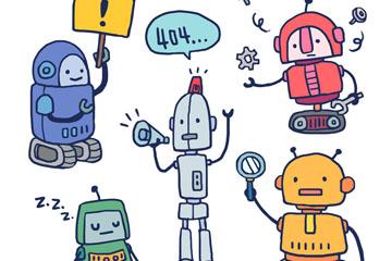 5款彩绘机器人设计矢量素材