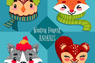4款卡通冬季森林动物头像矢量素