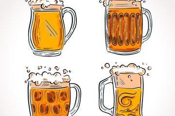 4款手绘杯装啤酒矢量素材