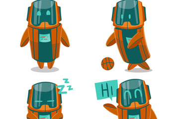 4款卡通机器人动作矢量素材