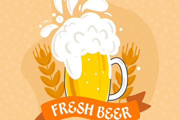 彩绘新鲜啤酒和大麦矢量素材