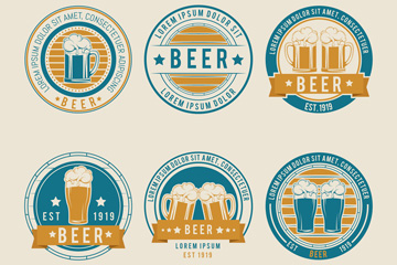 6款复古啤酒标签设计矢量素材