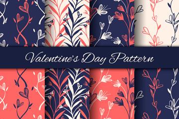 8款彩绘情人节花卉无缝背景矢量图