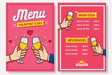 彩绘碰杯手臂情人节菜单正反面矢