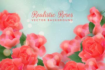 美丽红色玫瑰花丛设计矢量图