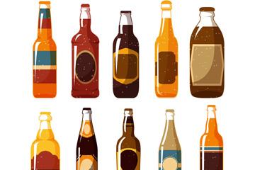 10款彩绘瓶装啤酒矢量素材