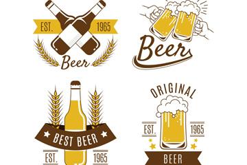 4款创意啤酒标签设计矢量素材