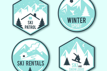 4款创意冬季滑雪标签矢量素材