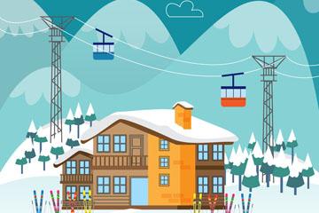 创意冬季滑雪场矢量素材
