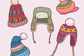 5款彩绘冬季帽子矢量素材