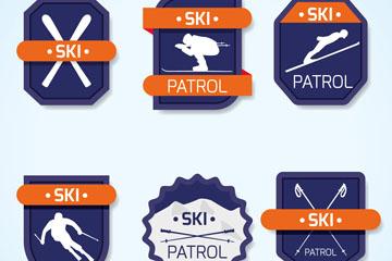 6款蓝色滑雪标签矢量素材