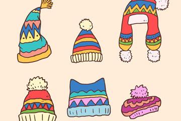 6款彩色冬季花纹帽子矢量素材