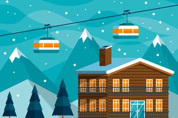 创意冬季雪中的滑雪场矢量素材